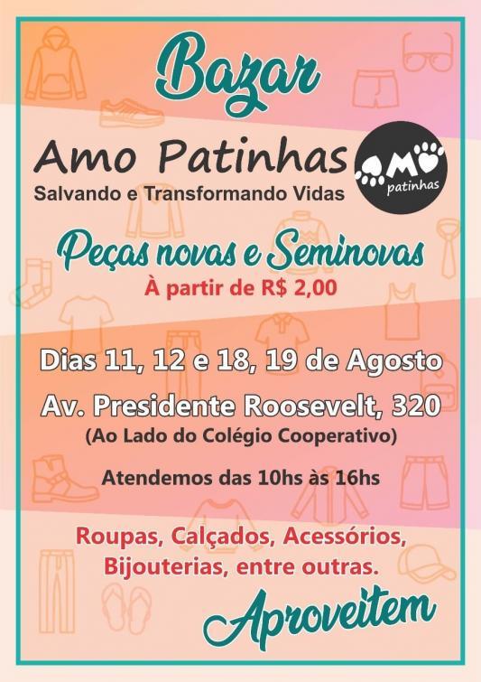 c3fd8748e75 Amo Patinhas promove Bazar Beneficente em dois finais de semana ...